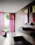 dark bathroom with fuschia curtains_escapade