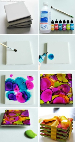 DIY_Alcohol Ink Dyed Coasters