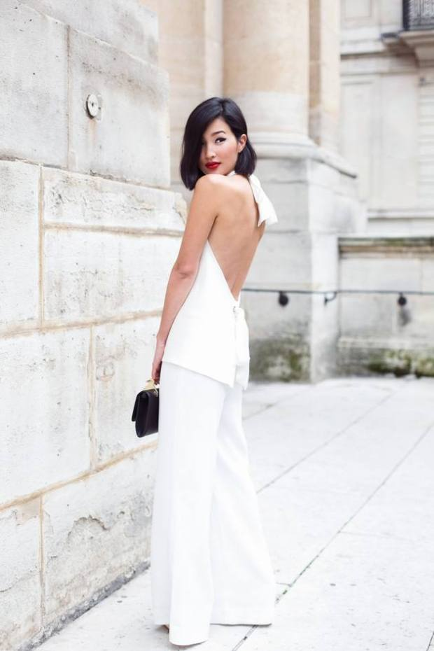 Gary Pepper - White Backless Wide Leg Suit