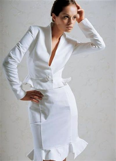 white suit ruffle skirt